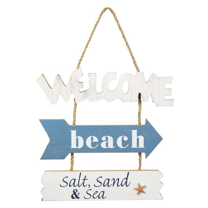 Dekohänger - Welcome Beach - aus Holz - ca. 23,5 x 0,5 x 33 cm