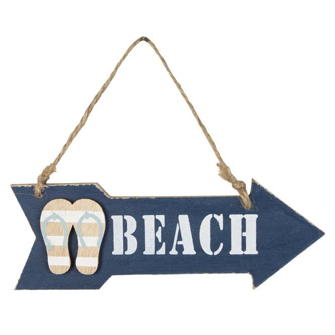 Dekohänger - Beach - aus Holz - ca. 18 x 0,5 x 6 cm