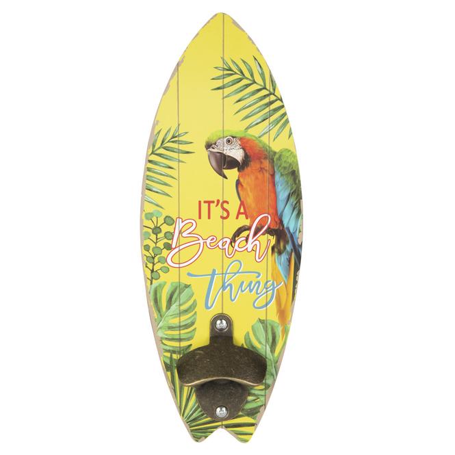 Wanddeko - Surfbrett - aus Holz - ca. 10 x 1 x 30 cm - Papagei