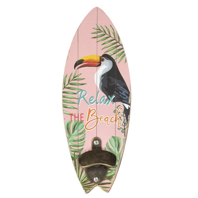 Wanddeko - Surfbrett - aus Holz - ca. 10 x 1 x 30 cm - Tukan