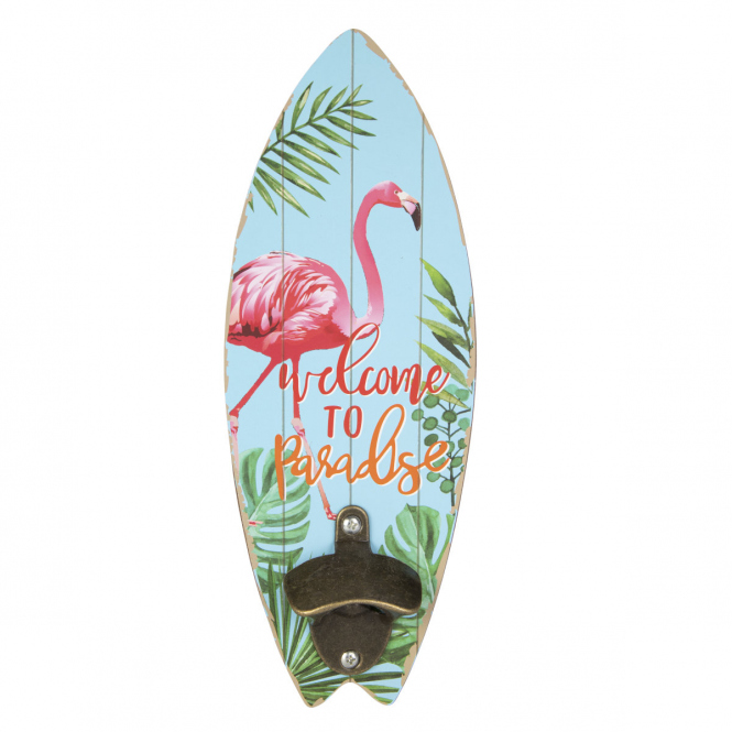 Wanddeko - Surfbrett - aus Holz - ca. 10 x 1 x 30 cm - Flamingo