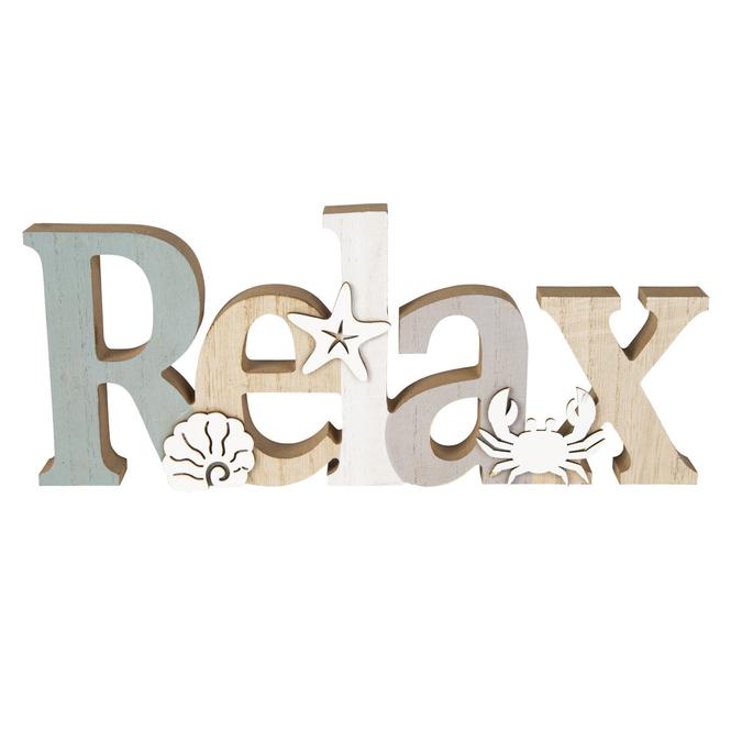 Deko-Schriftzug - Relax - aus Holz - ca. 30 x 2 x 12,5 cm