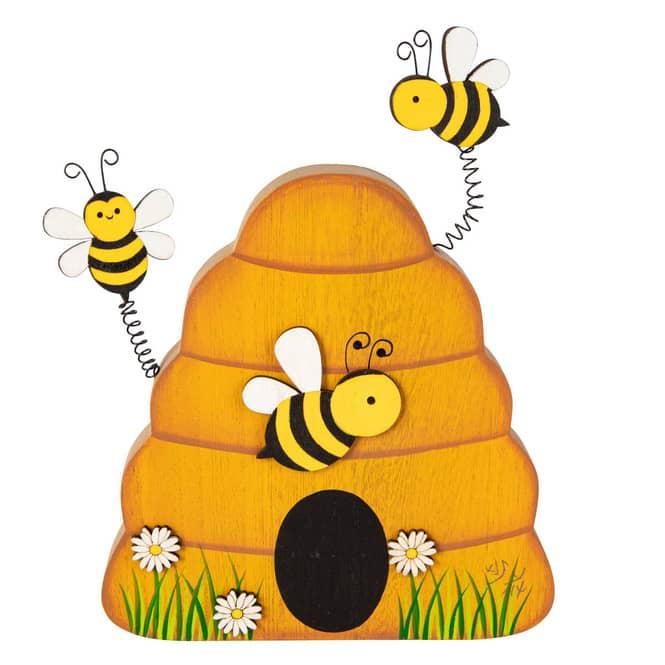 Standdeko - Bienenstock - aus Holz - ca. 16 x 2,5 x 22 cm