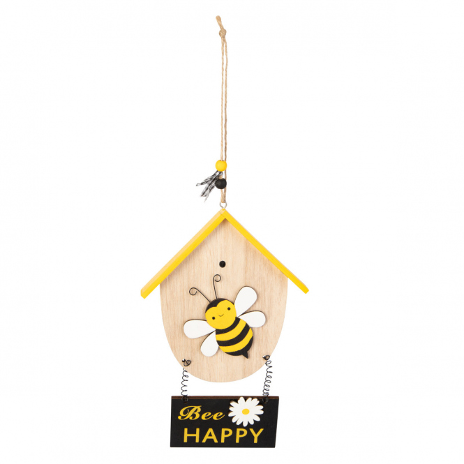 Dekohänger - Bienenhaus - aus Holz - ca. 14 x 22 x 15 cm
