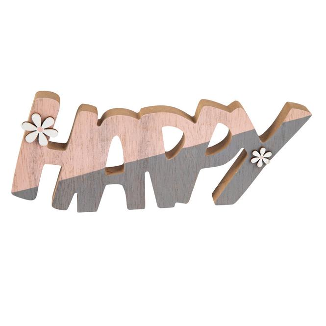 Deko-Schriftzug - Happy - aus Holz - ca. 28 x 2,5 x 13 cm