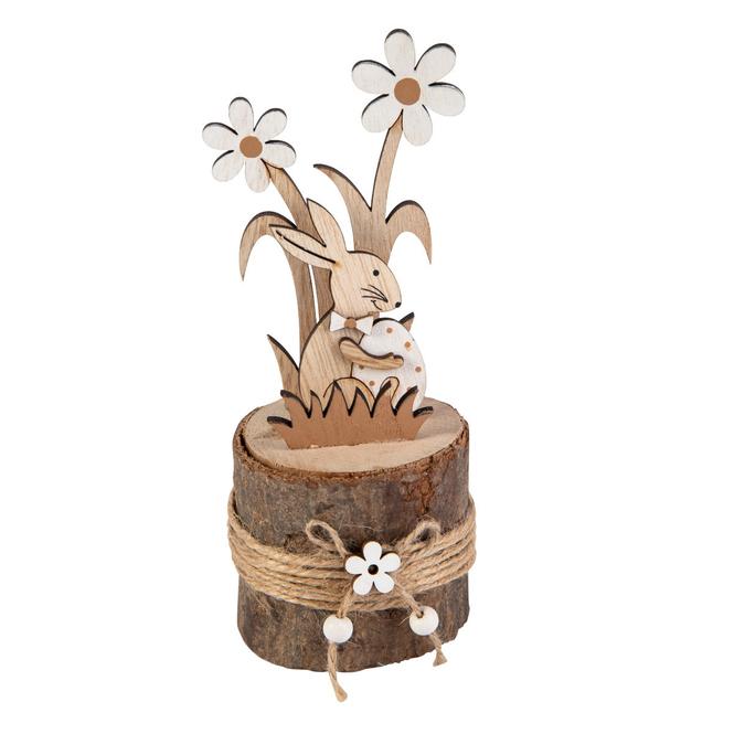 Standdeko - Hase - aus Holz - ca. 7,5 x 7,5 x 18 cm