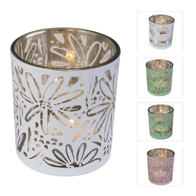 Teelichtglas - Blumen - ca. 7 x 7 x 8 cm - 1 Stück