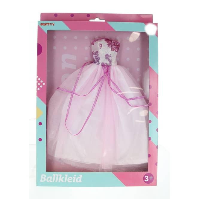 Besttoy - Modepuppenkleid - weiß-rosa Prinzessinnenkleid