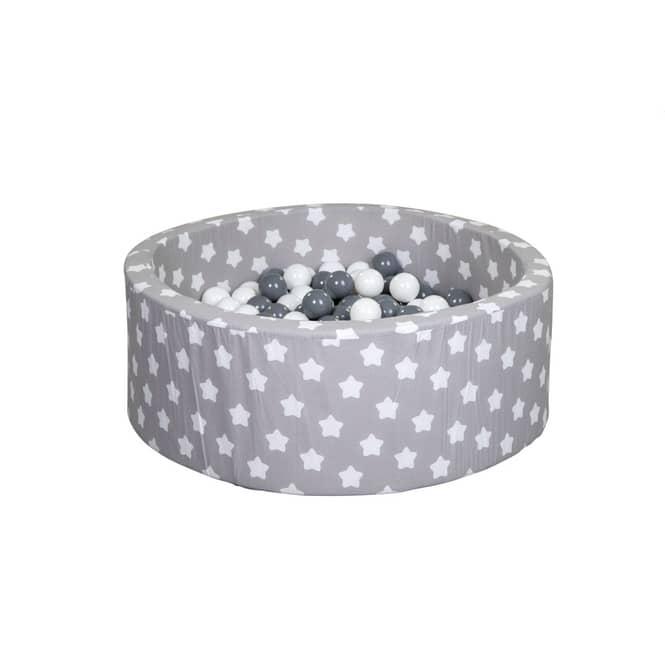 Bällebad - Sterne - grau/weiß