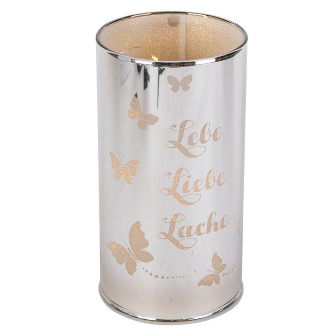 LED-Zylinder - aus Glas - ca. 8 x 8 x 15 cm