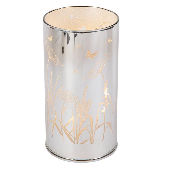 LED-Zylinder - Blumen - aus Glas - ca. 8 x 8 x 15 cm