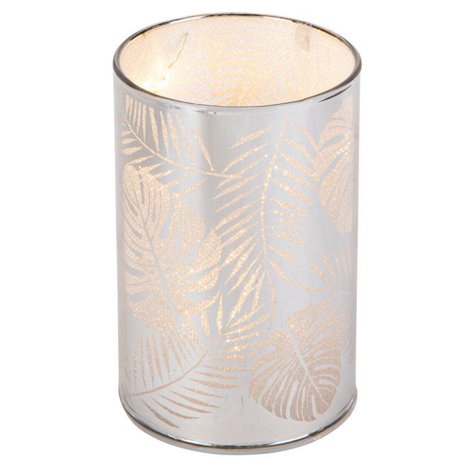LED-Zylinder - Blätter - aus Glas - ca. 6,5 x 6,5 x 10 cm