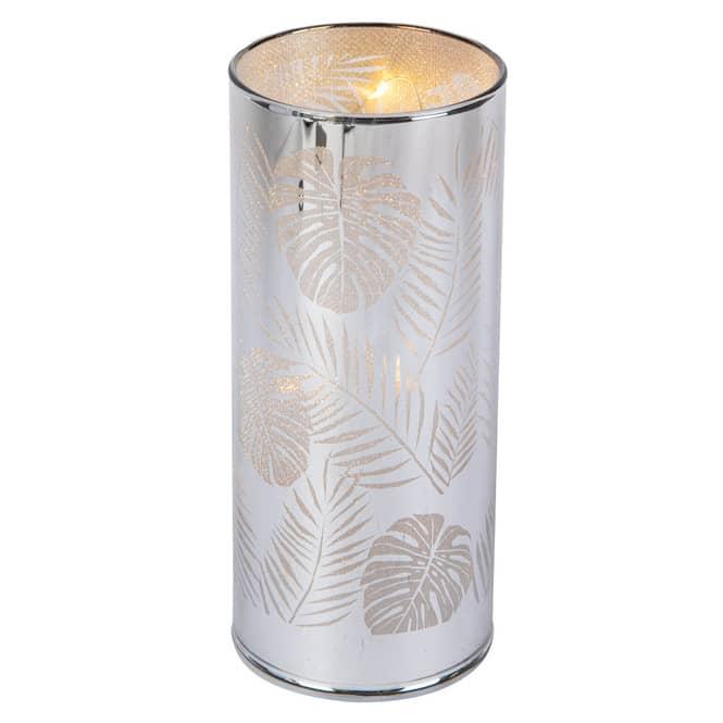 LED-Zylinder - Blätter - aus Glas - ca. 6,5 x 6,5 x 15 cm