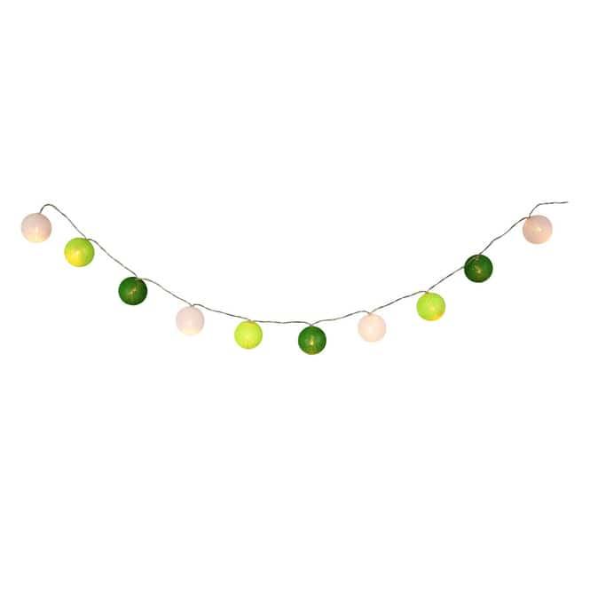 10er LED-Kugellichterkette - Ø = ca. 4 cm - grün/weiß
