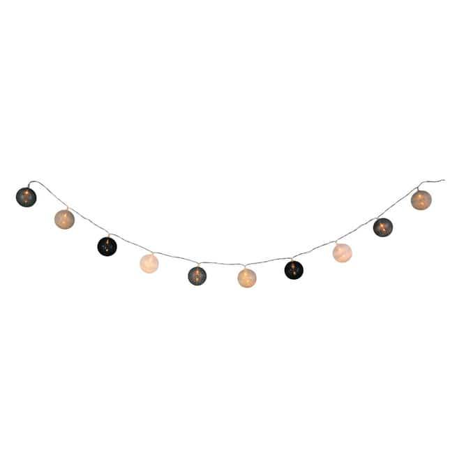 10er LED-Kugellichterkette - Ø = ca. 4 cm - schwarz/weiß/grau