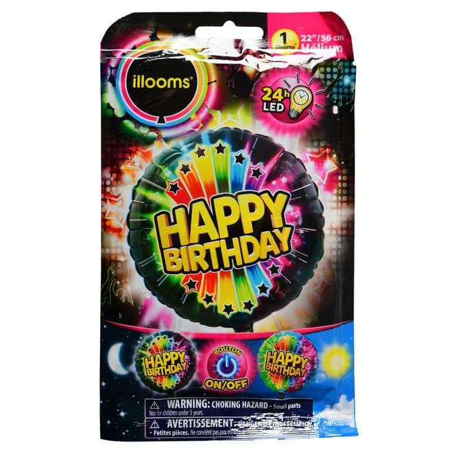 LED-Folienballon - Happy Birthday