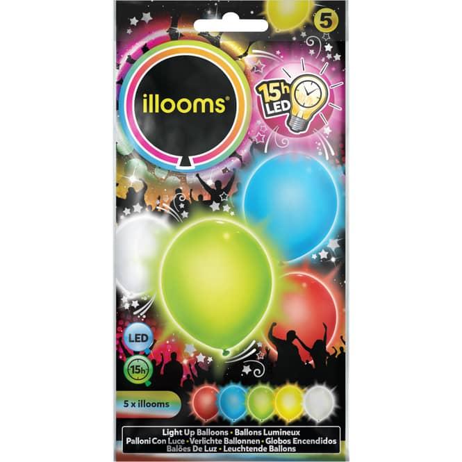 LED-Ballons - Ø = ca. 23 cm - 5 Stück