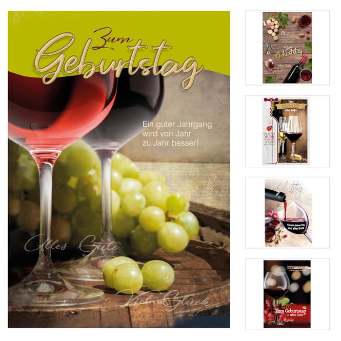 Geburtstagskarte - Wein - 1 Stück