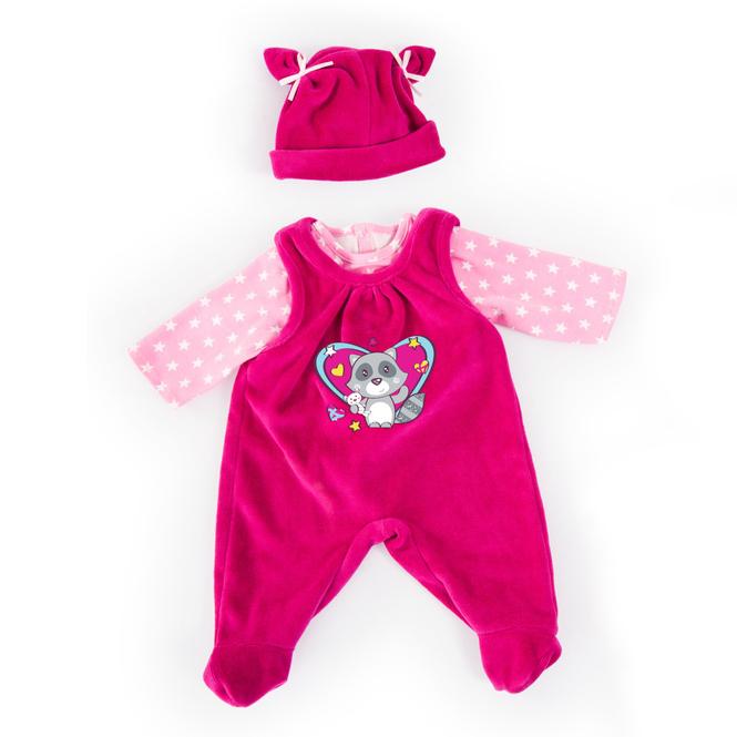 Kleiderset für Puppen - Waschbärmotiv - Größe 33-38 cm