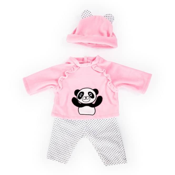 Kleiderset für Puppen - Pandamotiv - Größe 33-38 cm