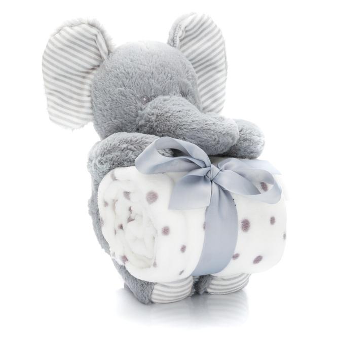 Geschenk-Set - Plüschtier mit Decke - Elefant