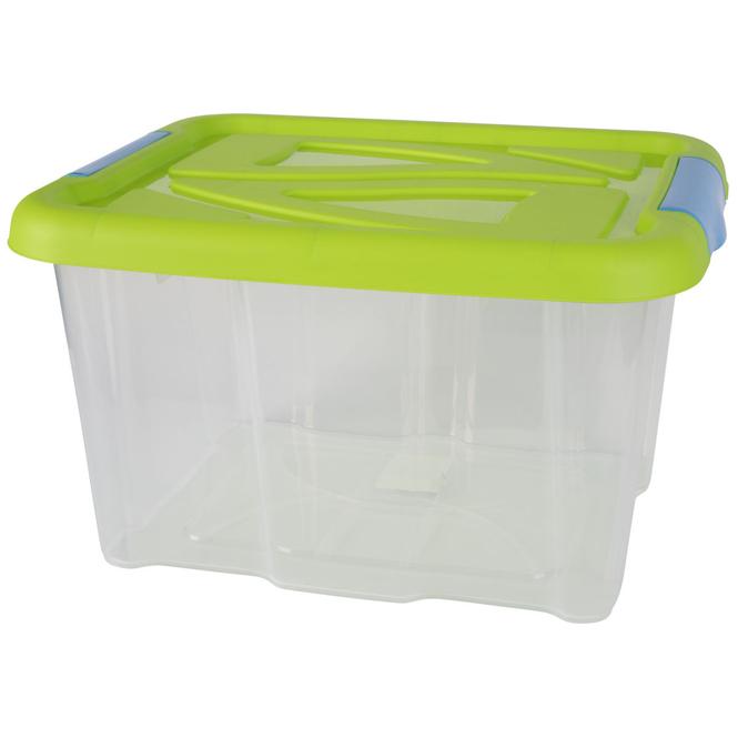 Aufbewahrungsbox mit Deckel - 17 L - transparent/grün