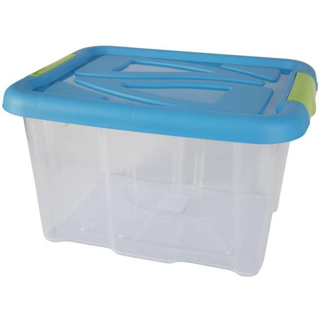 Aufbewahrungsbox mit Deckel - 17 L -transparent/blau