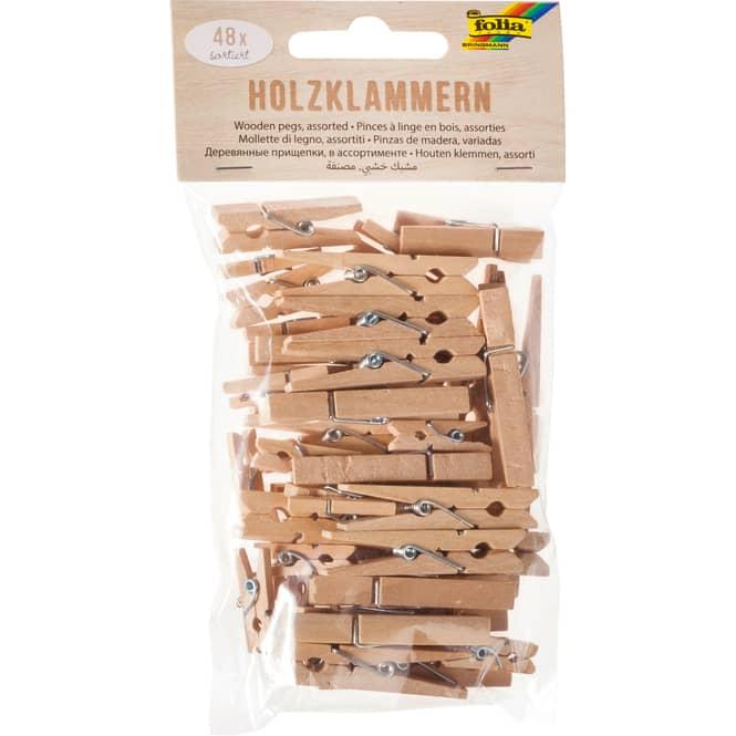 Dekoklammern - aus Holz - 48 Stück - 1 Set