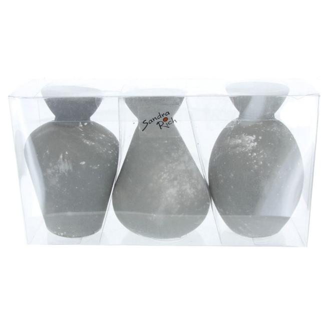 Vasen - aus Glas - grau - ca. 6,5 x 10 cm - 3 Stück