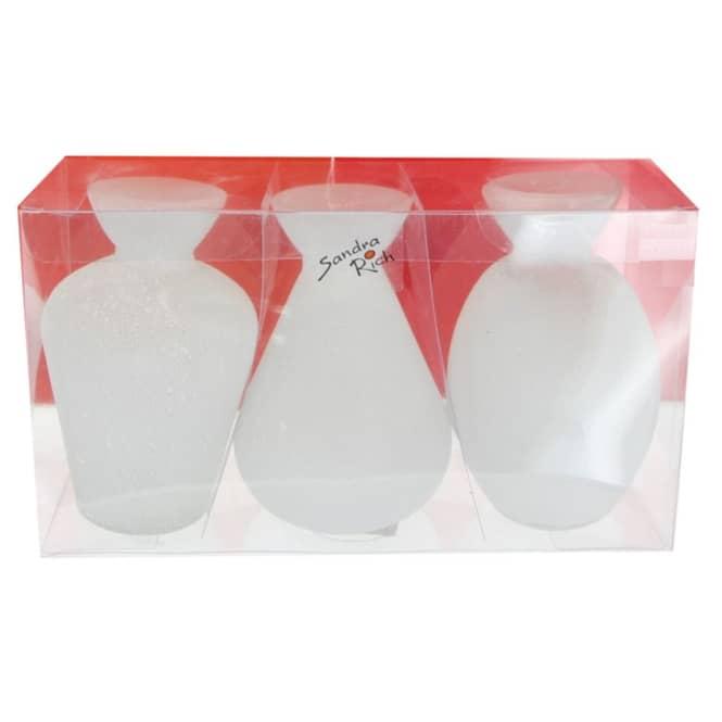 Vasen - aus Glas - weiß - ca. 6,5 x 10 cm - 3 Stück