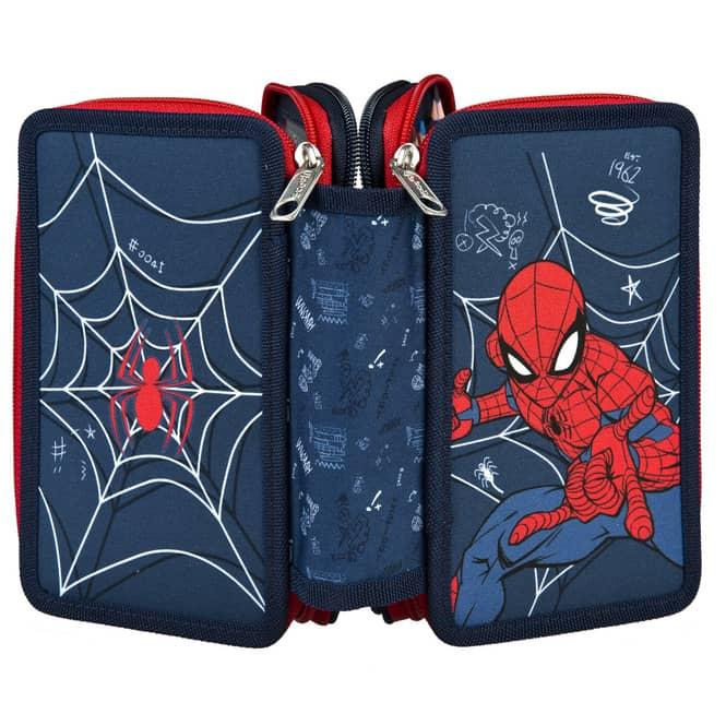 Spiderman - Federmäppchen mit 3 Fächern - 30-teilig