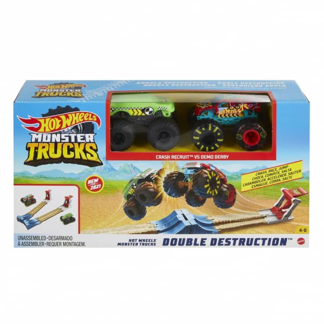 Hot Wheels Monster Trucks - Rennbahn - Doppel-Rampe