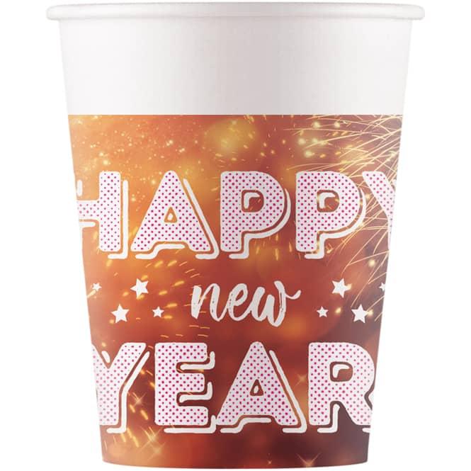 8 Becher - Happy New Year