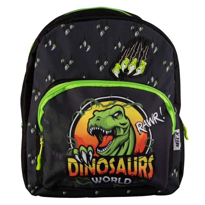 MICA - Kinderrucksack Dinosaurs World - schwarz/neongrün
