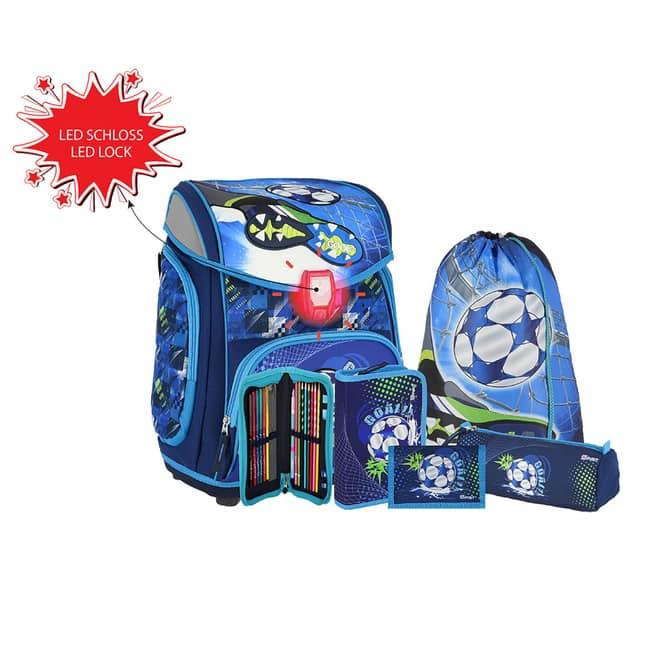 Schulranzen Set 5-teilig - Fußball - blau