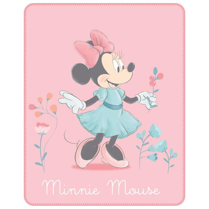 Minnie Mouse - Fleecedecke - Blumen - Maße: ca. 110 x 140 cm