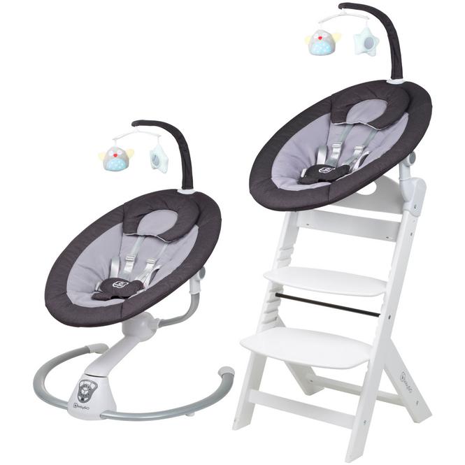 BabyGo - Homey Set - Hochstuhl und Wippe - weiß/dunkelgrau