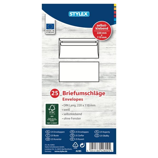 Briefumschläge ohne Fenster - DIN Lang - weiß - 25 Stück