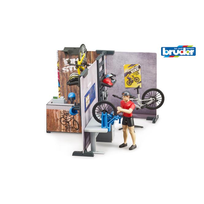 Bruder 63120 - Fahrradshop mit Rad und Figur