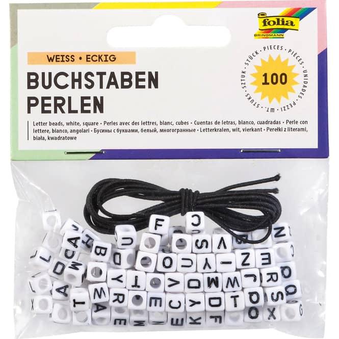 Buchstaben-Perlen - 100 Stück - weiß