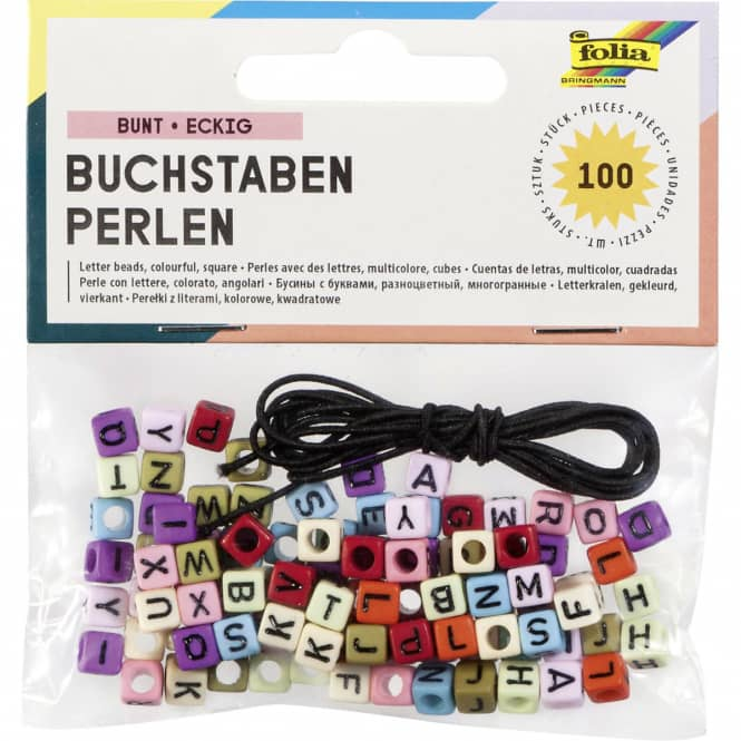 Buchstaben-Perlen - 100 Stück - farbig
