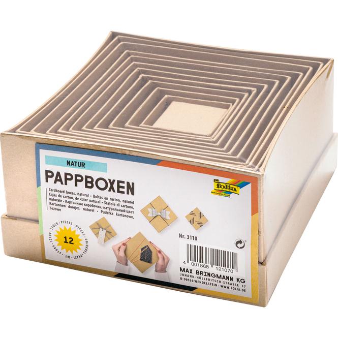Pappboxen Set - Natur - 12 Stück