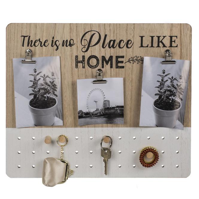 Schlüsselbrett mit Bilderclips - aus Holz - ca. 40 x 34 cm