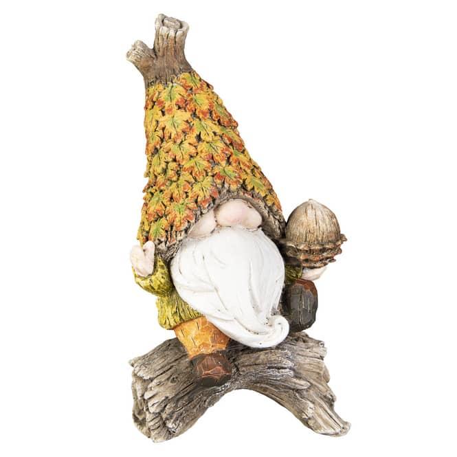 Dekofigur - Herbstwichtel - aus Polyresin - ca. 10,5 x 8,5 x 19,5 cm