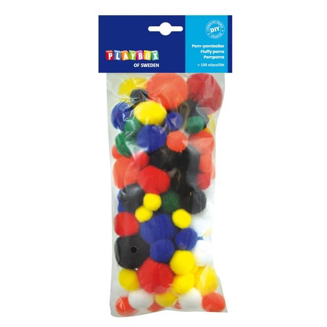 Pompoms grundfarben - 100 Stück