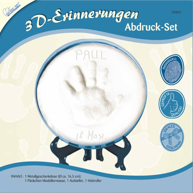 3D-Erinnerungen - Abdruck-Set - blau - 4-teilig