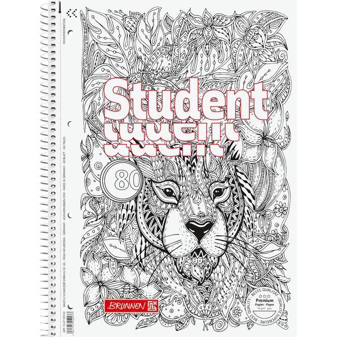 Brunnen - Collegeblock Premium Student - ZENart A4 - Löwe