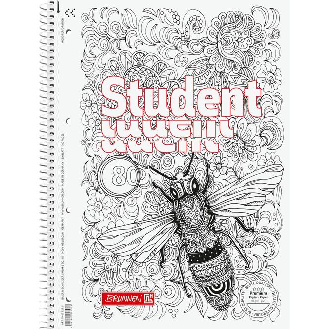 Brunnen - Collegeblock Premium Student - ZENart A4 - Biene