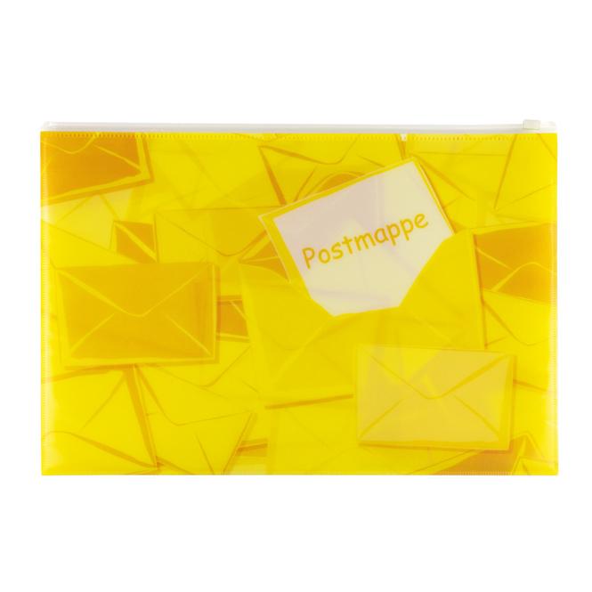 Postmappe DIN A4 mit Zipper - gelb