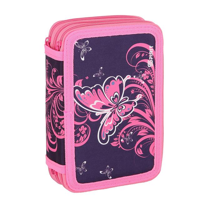 Schüleretui - Schmetterling - Tripple Decker - pink